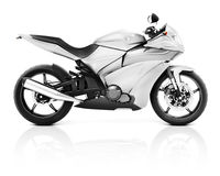 τρισδιάστατη εικόνα μιας άσπρης σύγχρονης μοτοσικλέτας Στοκ εικόνα με δικαίωμα ελεύθερης χρήσης
