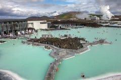 蓝色冰岛盐水湖温泉 库存图片