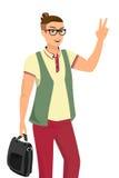 Όμορφος τύπος που φορά τη διανυσματική απεικόνιση γυαλιών Στοκ Εικόνες