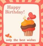 与蛋糕的生日贺卡 免版税库存照片