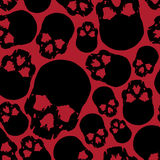 Картина черного и красного человеческого черепа безшовная Стоковые Изображения RF