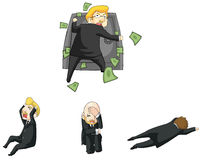 Реакция бизнесмена смешная в финансовом кризисе сидит Стоковое Фото