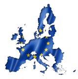 欧盟旗子地图 免版税库存图片