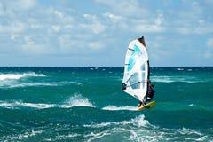 刮风的天气的风帆冲浪者在毛伊岛 免版税库存图片