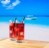 两杯与秸杆的红色文本的鸡尾酒和空间 免版税库存图片