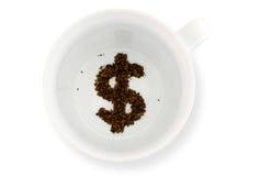 咖啡杯-算命金钱 免版税库存照片