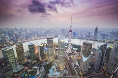 上海鸟瞰图 免版税库存图片
