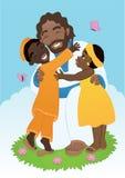 有孩子的非洲人耶稣 库存照片