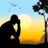 沮丧的剪影代表失去的希望和人 免版税库存图片