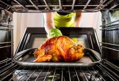 Μαγειρεύοντας το κοτόπουλο στο φούρνο στο σπίτι Στοκ εικόνα με δικαίωμα ελεύθερης χρήσης