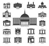 Εικονίδια οικοδόμησης καθορισμένα, κυβερνητικά κτήρια Στοκ Εικόνες