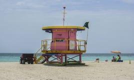 救生员客舱迈阿密海滩佛罗里达 免版税图库摄影