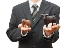公牛股市的概念 在证券交易所的正面趋向 库存照片