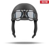 Ретро шлем пилота авиатора с изумлёнными взглядами Стоковое фото RF