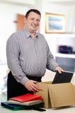 Толстый человек получил новое высоко-оплаченное занятие Стоковая Фотография RF