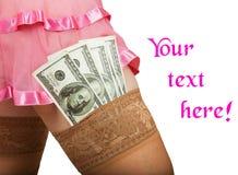 金钱的性与一名可爱的妇女 免版税图库摄影
