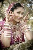 站立在树下的年轻美丽的印地安印度新娘用被举的被绘的手 免版税库存图片