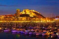 阿利坎特港在夜 免版税库存照片