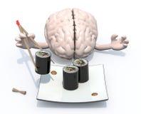 脑子和寿司板材 免版税库存照片