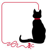 Λεπτό πλαίσιο με τη μαύρη γάτα Στοκ φωτογραφία με δικαίωμα ελεύθερης χρήσης