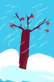 光秃的橡树在多雪的冬日 免版税库存图片