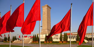 在天安门广场的人民英雄纪念碑,北京,中国 免版税库存照片