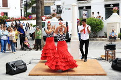 佛拉明柯舞曲舞蹈家在米哈斯,马拉加,西班牙镇  免版税库存照片