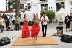 佛拉明柯舞曲舞蹈家在米哈斯,马拉加,西班牙镇  库存图片