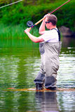 Рыбная ловля мухы (отливка) Стоковое Изображение