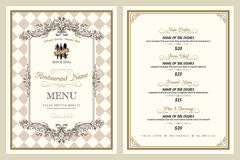 葡萄酒样式餐馆菜单设计 免版税库存照片