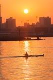 赛船会划船头骨日出颜色 免版税图库摄影