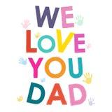 我们爱您爸爸愉快的父亲节卡片 库存照片
