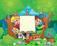 与绘画孩子的树题材 免版税库存照片