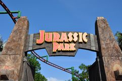 侏罗纪公园标志 库存照片