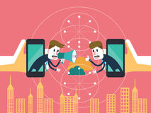 两个商人在流动云彩沟通 企业合作和技术概念 库存照片
