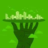 绿土在都市感觉的生态概念 免版税库存图片