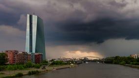 在主要河的雷云 图库摄影