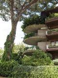 绿色公寓楼阳台在罗马 免版税库存照片