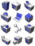 蓝色链灰色行业采购管理系统集合用品 库存图片