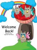 猫头鹰欢迎团聚 免版税库存照片