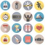 Плоский комплект значка бега дизайна Стоковое Фото