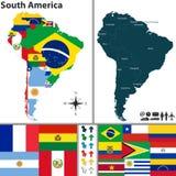 南美国的映射 库存照片