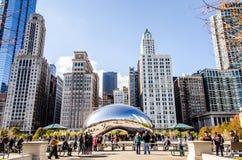 豆雕塑在千禧公园在芝加哥伊利诺伊 免版税库存图片