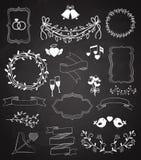 Εμβλήματα και κορδέλλες γαμήλιων πινάκων κιμωλίας καθορισμένα Στοκ φωτογραφίες με δικαίωμα ελεύθερης χρήσης