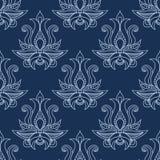 花卉无缝的蓝色佩兹利样式 库存图片