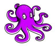 明亮的紫色动画片章鱼 免版税库存图片