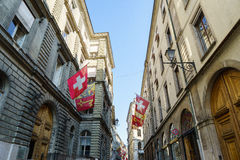 瑞士人和日内瓦旗子 免版税库存照片