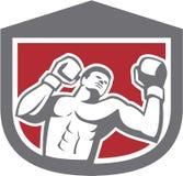 减速火箭拳击手猛击的拳击的盾 免版税库存图片