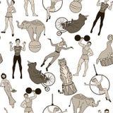 无缝的样式、葡萄酒马戏团演员和动物 免版税库存图片