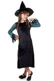 Элегантный представлять маленькой девочки одетый как ведьма Стоковое Изображение